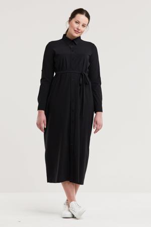 blousejurk van travelstof zwart