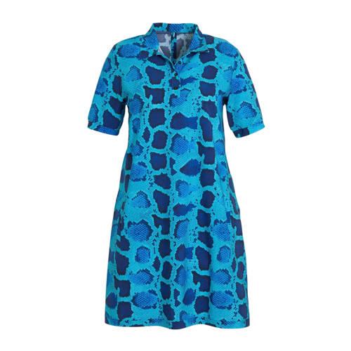 Plus Basics A-lijn jurk met slangenprint blauw