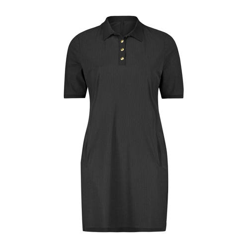 Plus Basics jurk met krijtstreep zwart