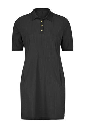 jurk met krijtstreep zwart