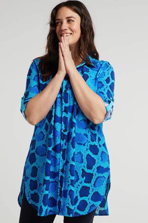blousejurk met slangenprint blauw