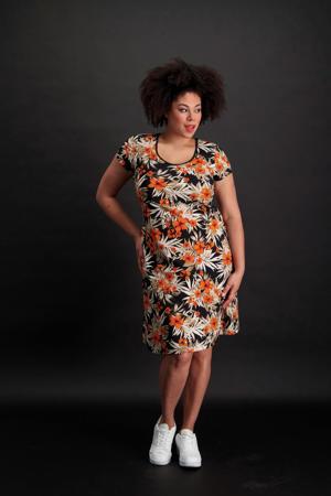 gebloemde jurk zwart/oranje