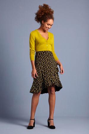 rok met bladprint en volant zwart/geel