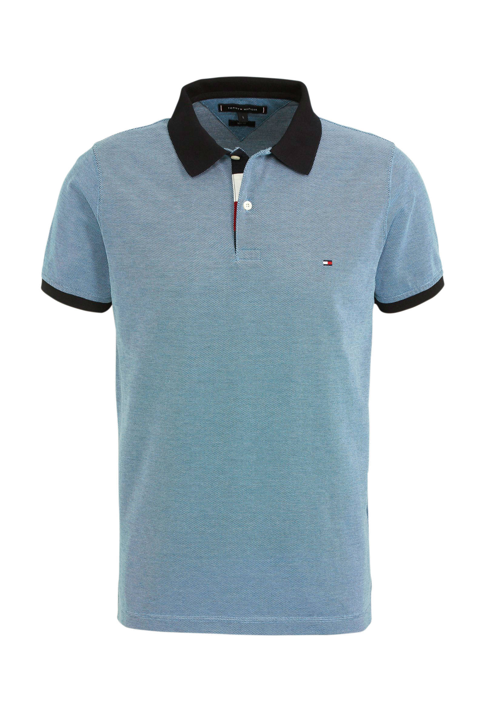 slim fit polo met all over print blauw