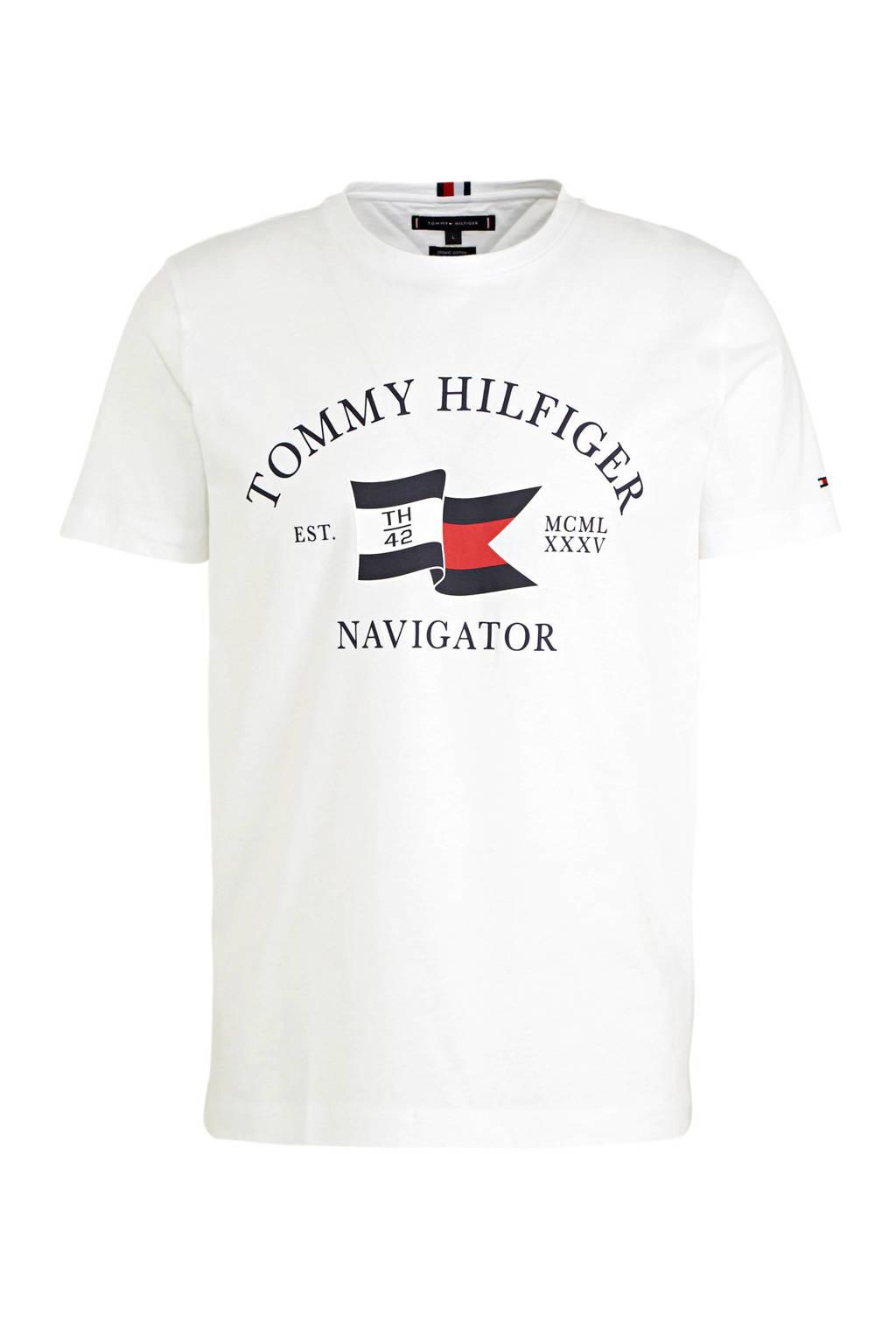 Tommy Hilfiger T-shirt van biologisch katoen wit/blauw/rood, Wit/blauw/rood