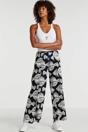 loose fit broek met all over print grijs