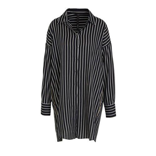 10DAYS gestreepte blousejurk zwart/wit