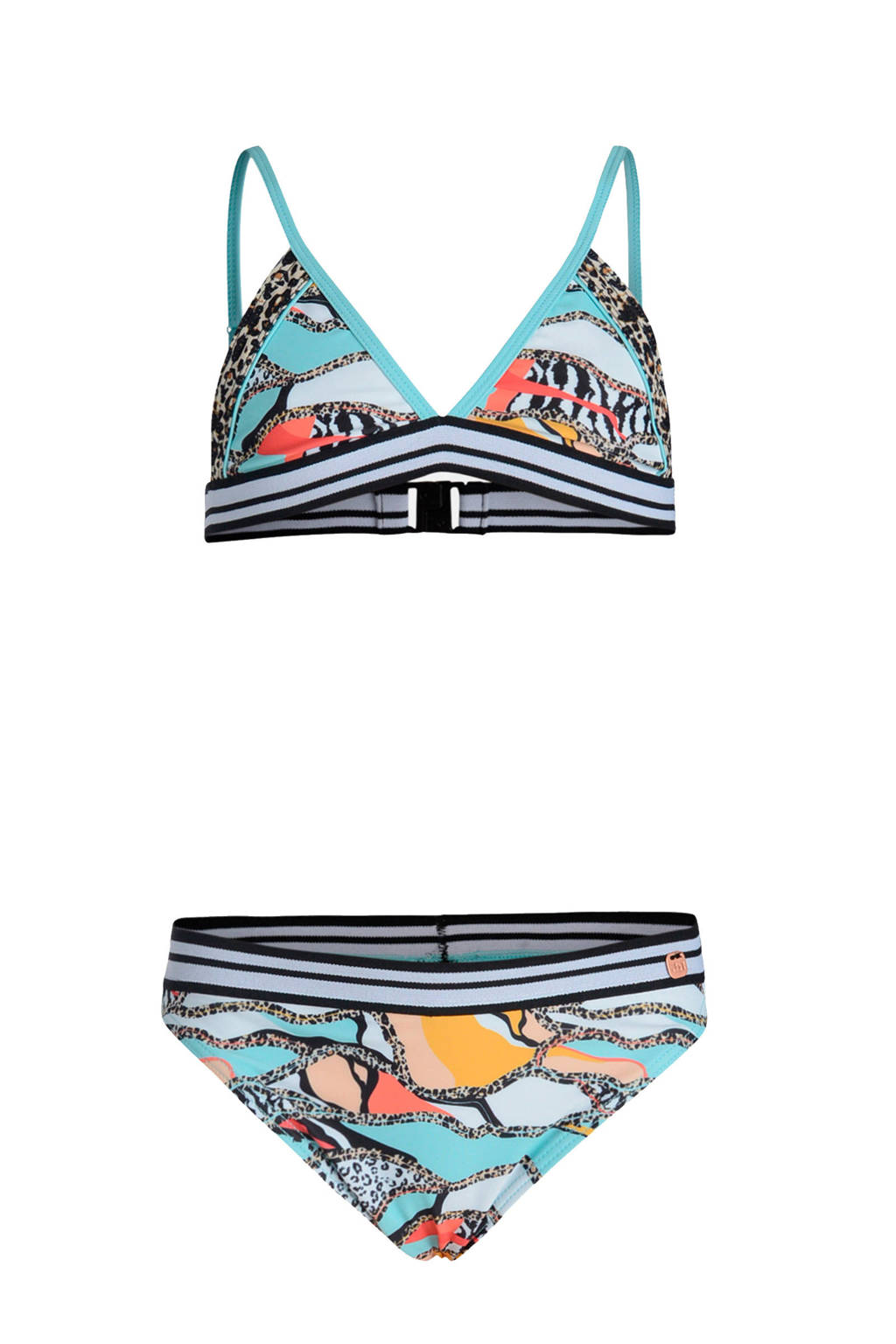 JILL MITCH bikini Resort met all over print blauw, Blauw/wit/geel