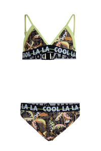 Jill & Mitch by Shoeby bikini Temptation met all over print geel, Geel/bruin