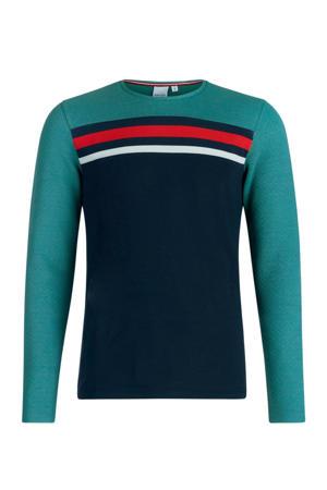 fijngebreide trui Eadse groen/d.blauw/rood