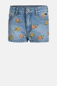 Jill & Mitch by Shoeby gebloemde jeans short Noon light denim, Light denim