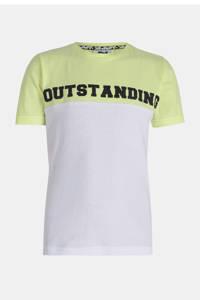 Jill & Mitch by Shoeby T-shirt Nicci met tekst wit/groen, Wit/groen