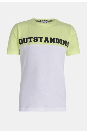 T-shirt Nicci met tekst wit/groen