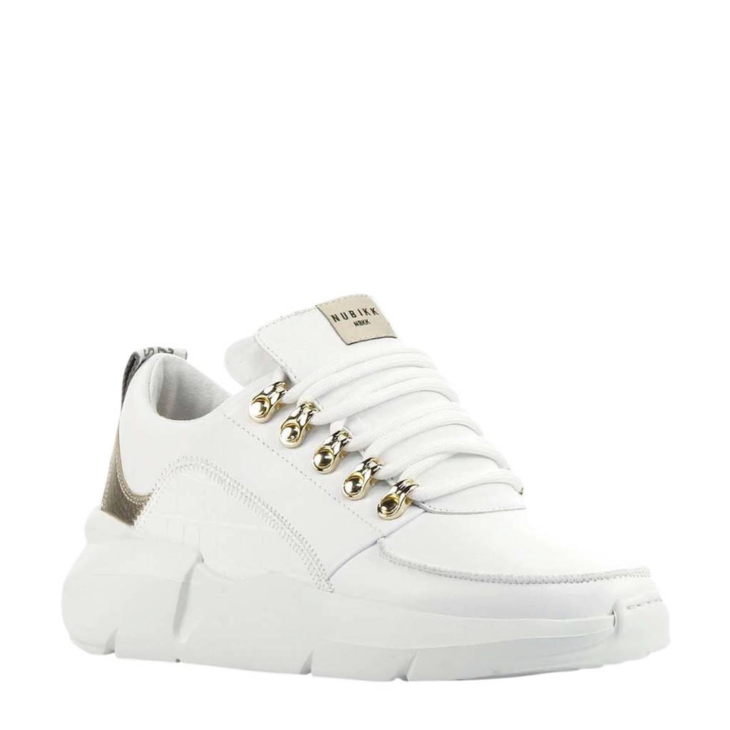 Nubikk Lucy Royal Croco  leren sneakers wit, Wit