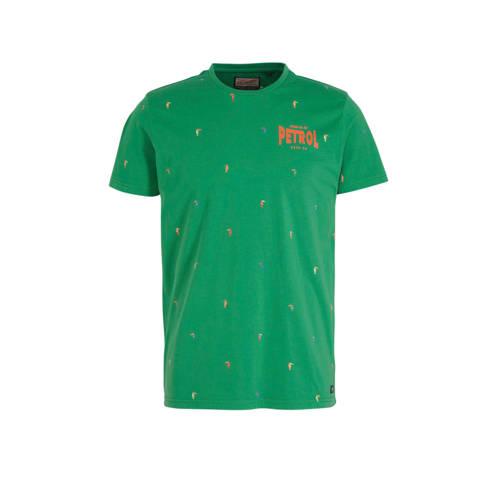 Petrol Industries T-shirt met all over print groen