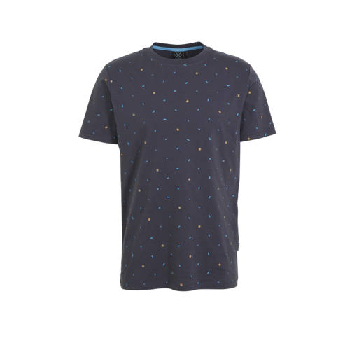 Kultivate T-shirt met all over print donkerblauw