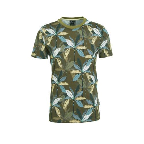 Kultivate T-shirt met bladprint groen