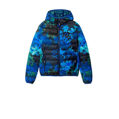 Desigual gebloemde gewatteerde jas donkerblauw