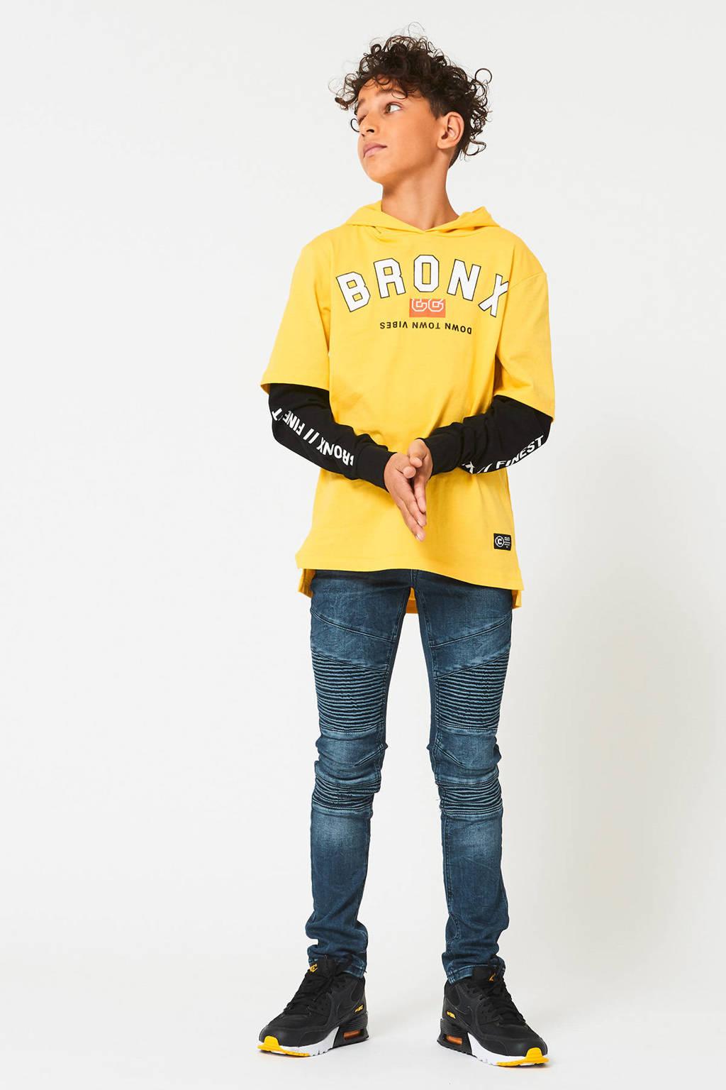 CoolCat Junior longsleeve Luuk met tekst geel/zwart/wit, Geel/zwart/wit