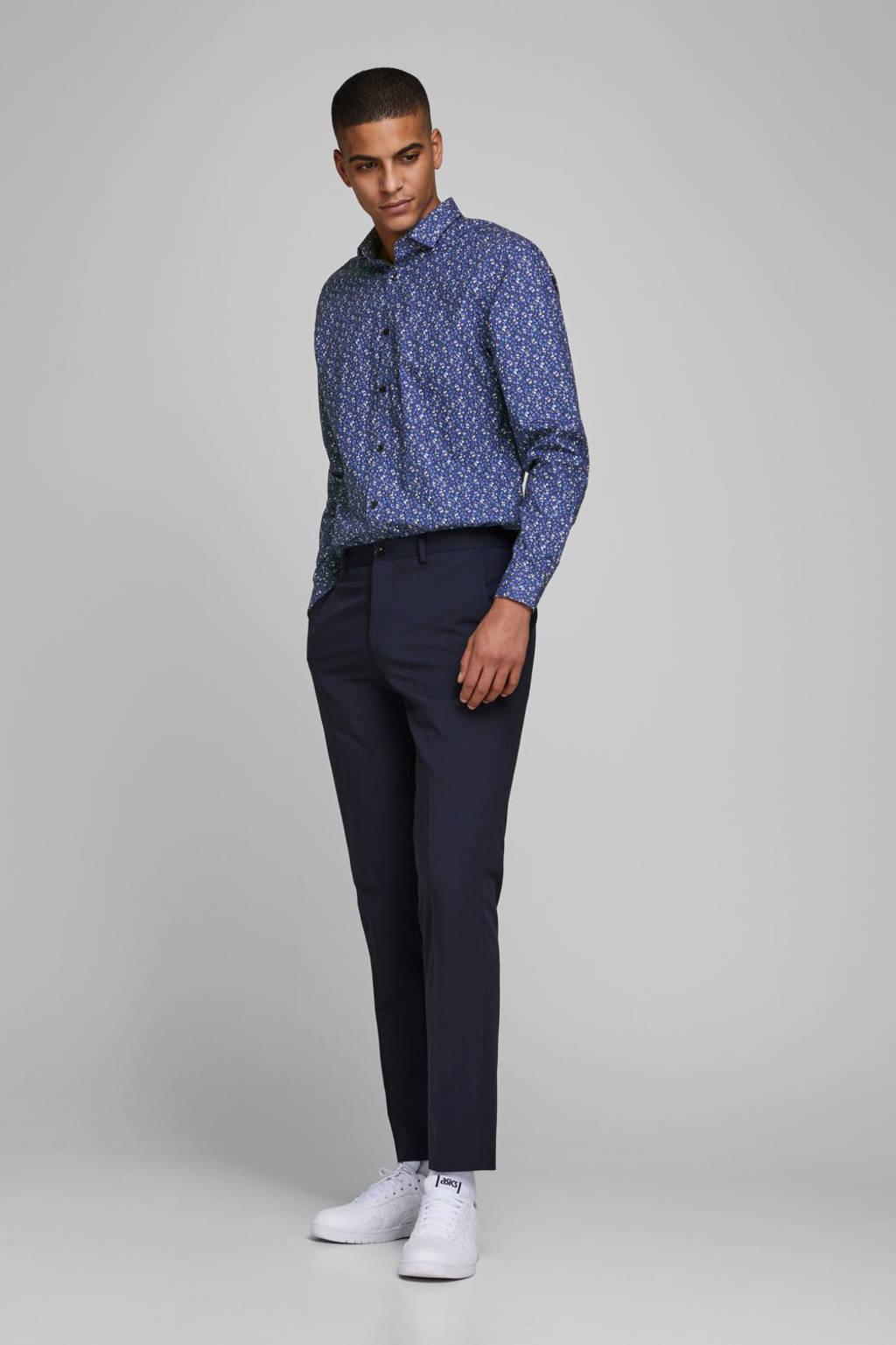 JACK & JONES PREMIUM gebloemd slim fit overhemd blauw, Blauw