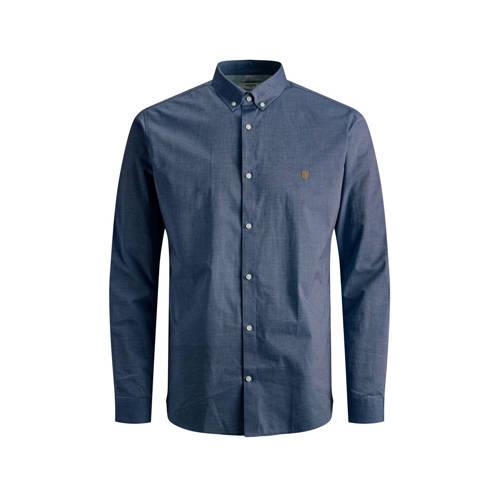 JACK & JONES PREMIUM slim fit overhemd blauw