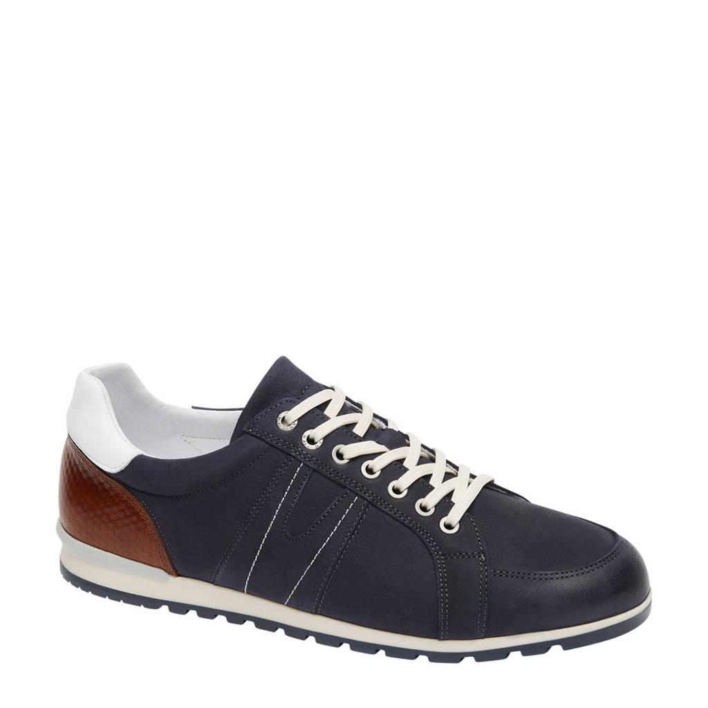 Van Lier   nubuck sneakers donkerblauw, Donkerblauw