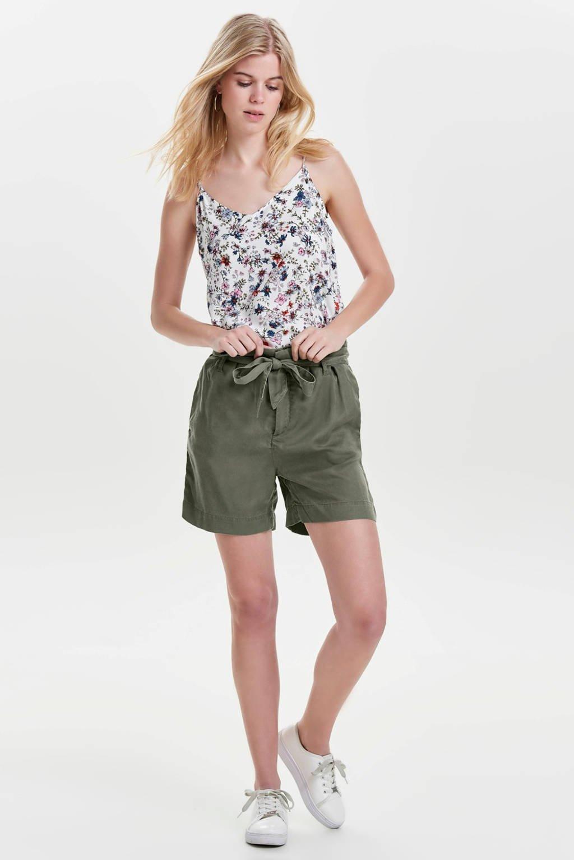 ONLY high waist straight fit short groen, Groen
