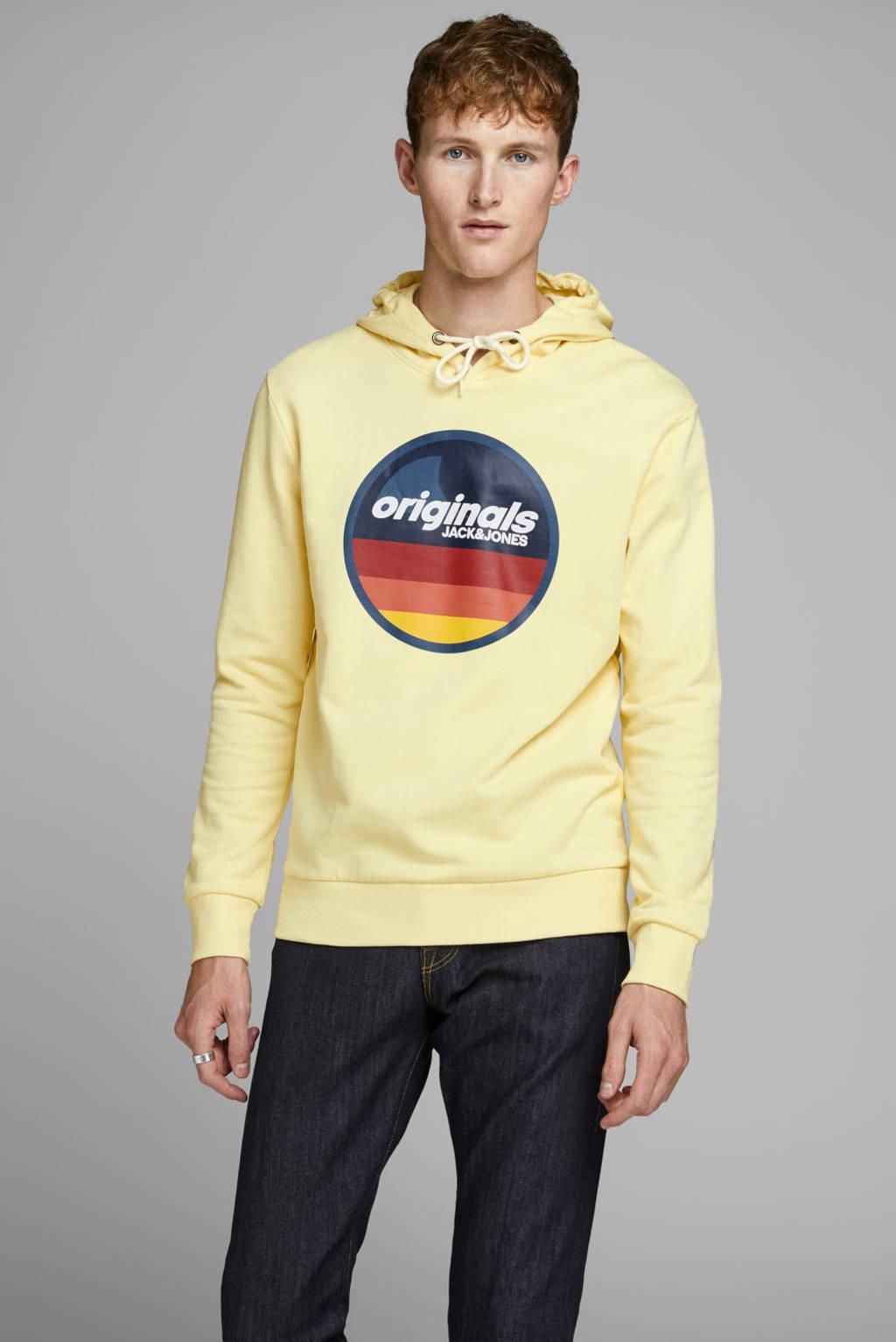 JACK & JONES ORIGINALS hoodie met printopdruk geel, Geel
