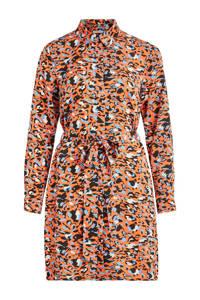 VILA blousejurk met all over print en ceintuur oranje/blauw/zwart, Koper/blauw/zwart