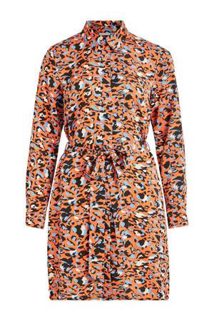 blousejurk met all over print en ceintuur oranje/blauw/zwart