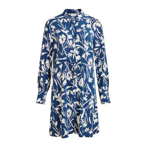 VILA blousejurk met all over print blauw wit