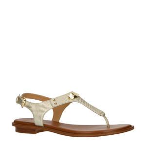 MK Plate Thong  leren sandalen goud