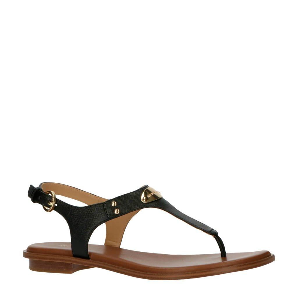 Michael Kors MK Plate Thong  leren sandalen zwart, Zwart/goud