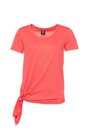 asymmetrisch sport T-shirt koraalrood