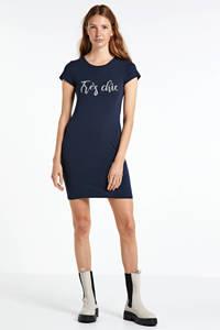 VERO MODA T-shirtjurk met tekst donkerblauw, Donkerblauw