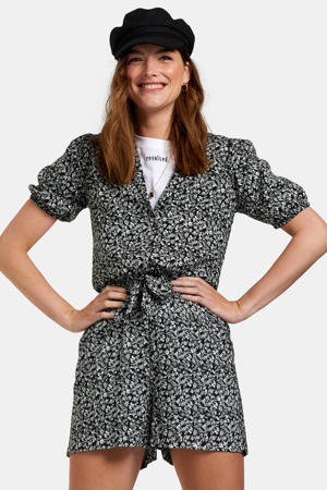 playsuit met all over print zwart/wit