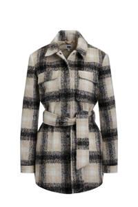 WE Fashion geruite coat beige/wit/zwart, Beige/wit/zwart