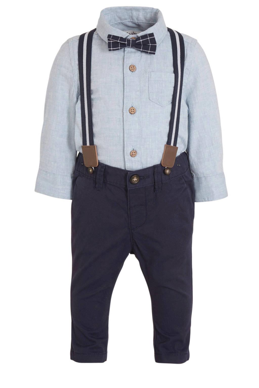 C&A Baby Club overhemd + broek met strik en bretels - set van 4 lichtblauw/donkerblauw, Lichtblauw/donkerblauw