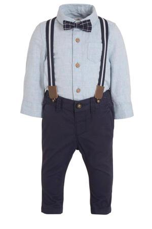 overhemd + broek met strik en bretels - set van 4 lichtblauw/donkerblauw