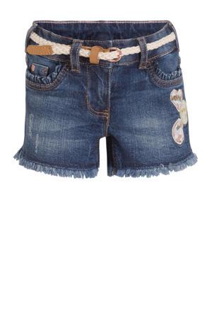 jeans short met borduursels stonewashed