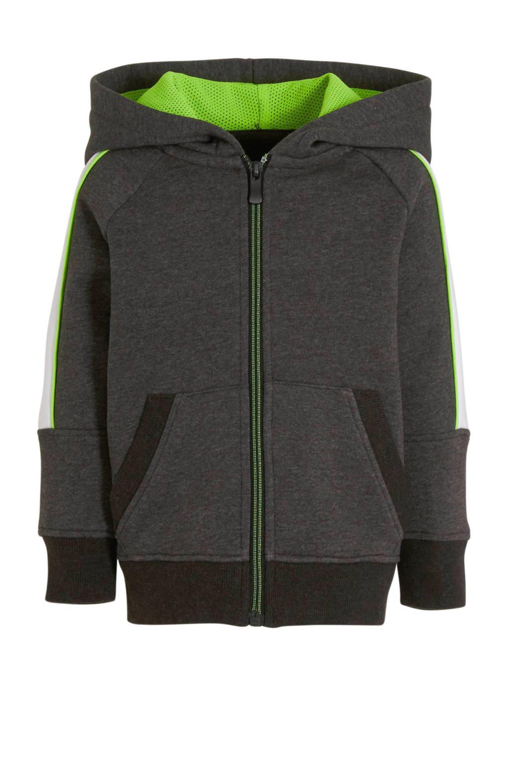 C&A Palomino vest met contrastbies antraciet/wit/groen, Antraciet/Wit/Groen