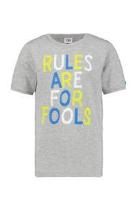 CKS KIDS T-shirt Yalis met tekst grijs melange, Grijs melange