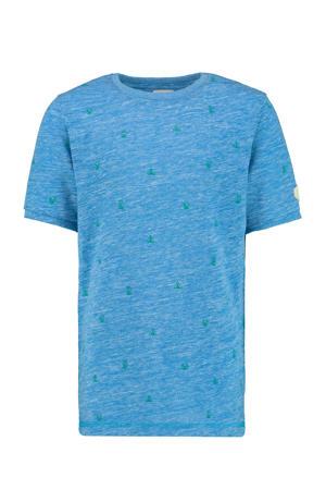 T-shirt Yerick met all over print blauw/groen