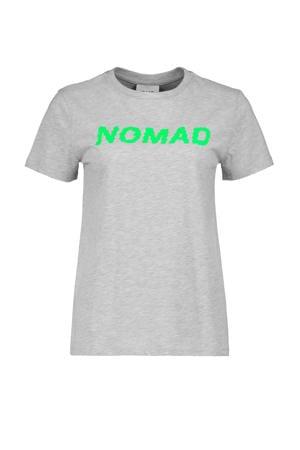 T-shirt met tekst grijs/groen