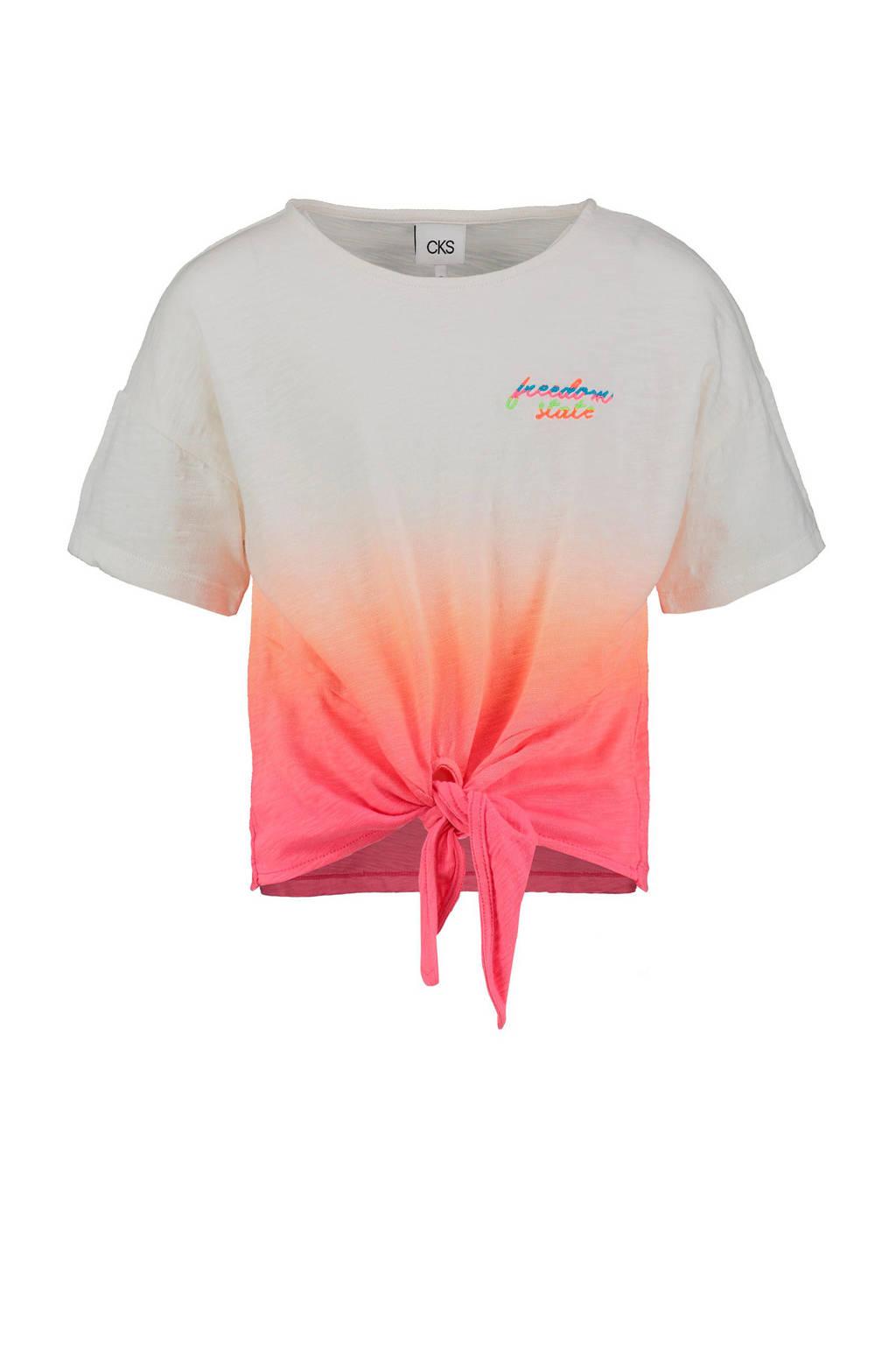 CKS KIDS dip-dye T-shirt Isatou oranje/wit, Oranje/wit