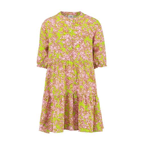 CKS KIDS jurk Ilvy met bladprint limegroen/roze