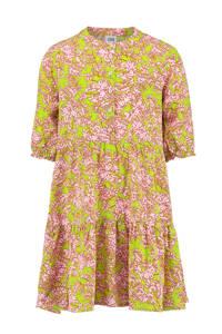 CKS KIDS jurk Ilvy met bladprint limegroen/roze, Limegroen/roze