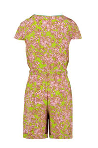 CKS KIDS jumpsuit Isunta met bladprint limegroen/roze, Limegroen/roze