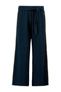 CKS KIDS loose fit broek Renea met zijstreep en textuur donkerblauw, Donkerblauw
