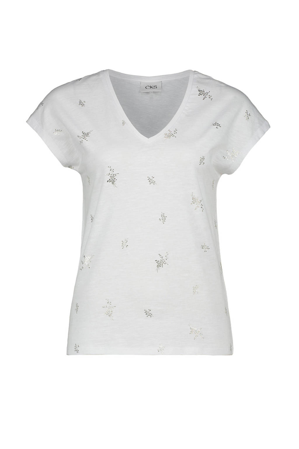 CKS T-shirt met all over print wit, Wit
